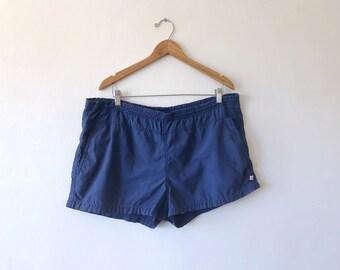 Vintage 80's Navy Blue Jantzen 100%  Nylon 2.5 inch Drawstring Athletic Swim Trunks with Pockets Size XL
