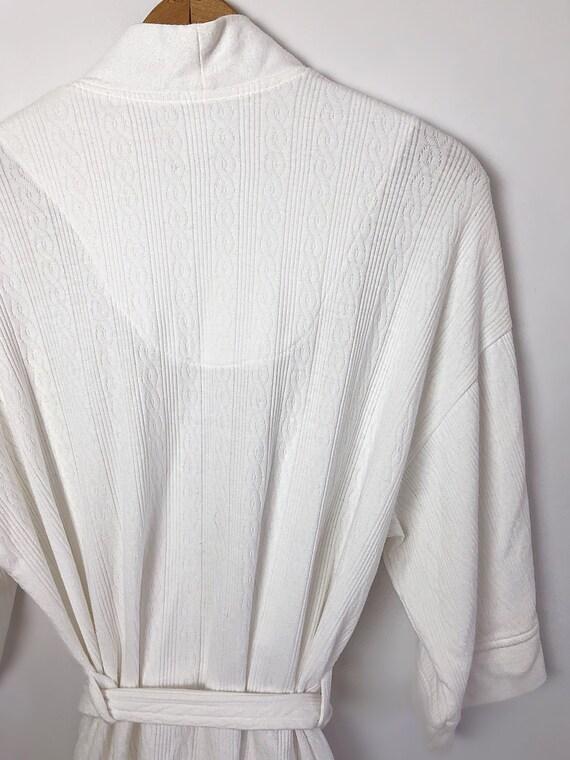 Vintage 90's Laura Ashley White Spa Short Robe wi… - image 5