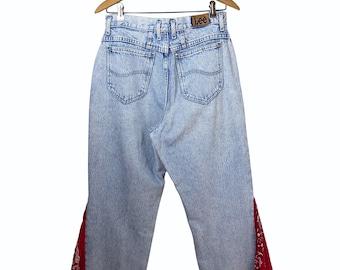 Vintage 90's Red Bandana Handkerchief Bell Bottom Wide Leg Jeans Size 13