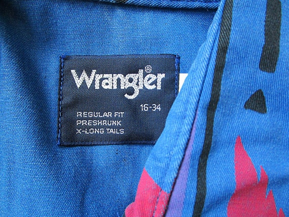 WRANGLER 16 Western Print Aztec THUNDERBIRD Colorful 34 Size Down Button Vintage 1990's gqwOa