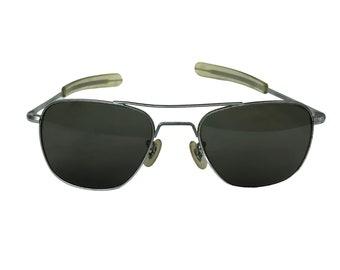 Vintage 1970's Randolph Engineering Military Silver Aviator Sunglasses
