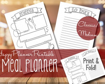 Meal Planner + Shopping List | Happy Planner MAMBI 365 | Bullet Journal Inspired | Printable | Instant Download | Classic/Medium Size