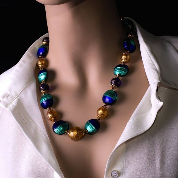 beaded modern necklace Italian jewellery Murano glass necklace Venetian necklace long necklace Blue glass necklace gift idea for her