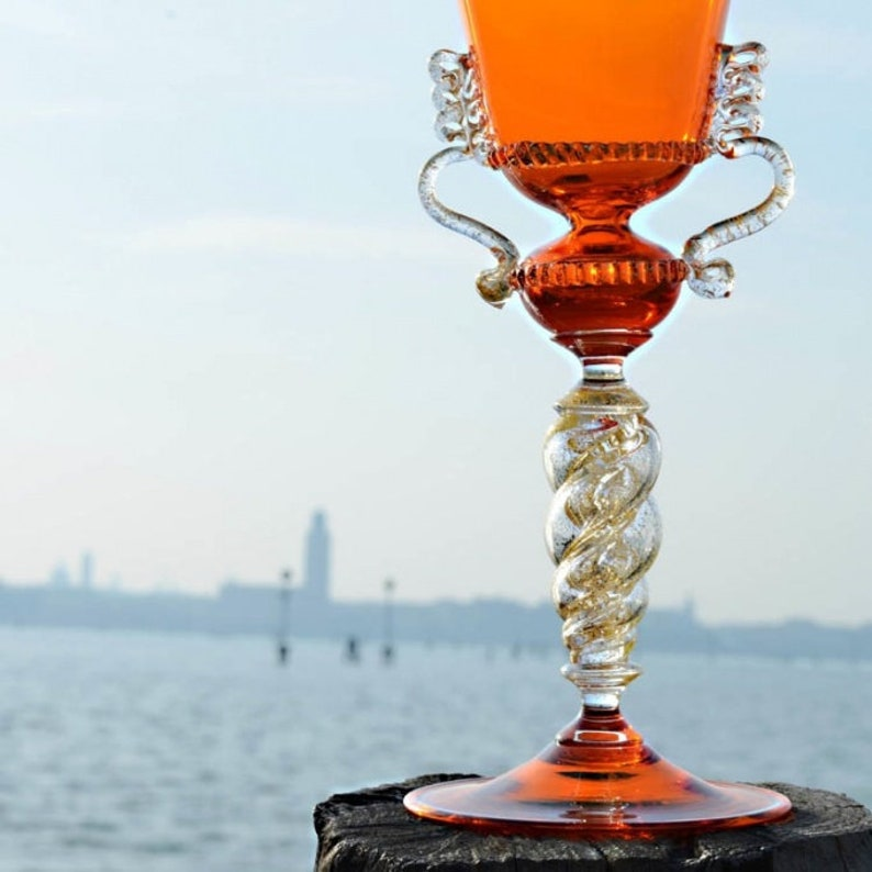 orange yellow decorative goblet Murano glass goblet TRADEMARK OF ORIGIN collectable chalice italian glass goblet handmade glass goblet