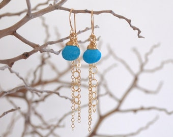 Turquoise Drop Dangle Chain Earrings, Gold Filled