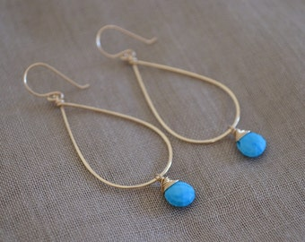 Turquoise Teardrop Hoop Earrings, Gold Filled