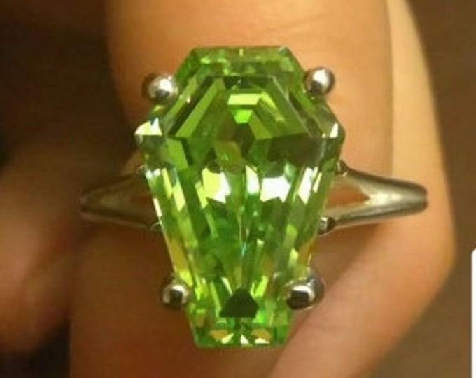 Coffin Gems® - 3CT SOLITAIRE RING or PENDANT - Apple Green