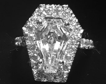 Coffin Gems® - 3CT HALO with 1/2 ETERNITY BAND