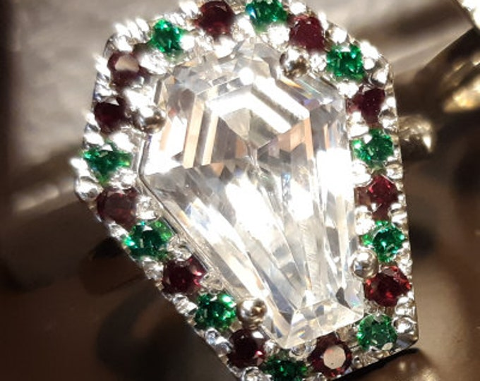 "Coffin Gems® - 5CT HALO RING  ""Christmas Joy"" - White on Red and Green - Size 7"