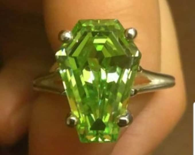 Coffin Gems® - 5CT SOLITAIRE RING or PENDANT - Apple Green