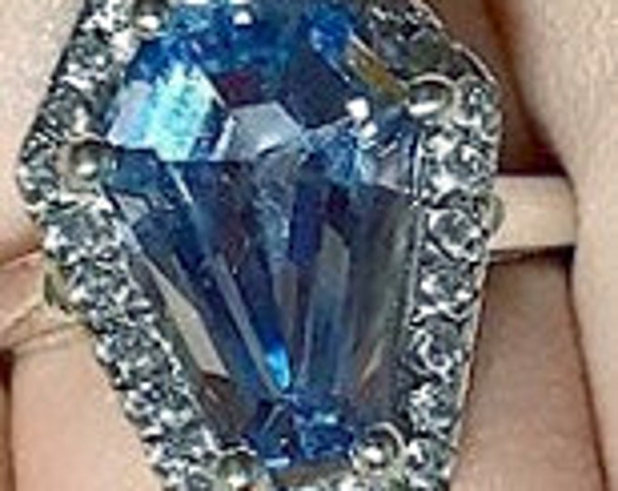 "Coffin Gems® - 10CT HALO RING  ""Blue Ice"" - Phantom on White -- Size 7"