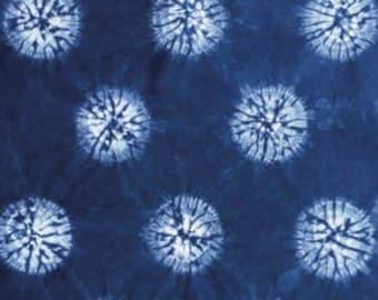 Indigo Dyed Shibori Fabric, Indigo Fat Quarter, Hand Dyed Circle Fabric, Tie Dye Fabric