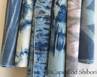 Shibori Denim Fabric, Tie Dye Denim, Fabric For Boro & Visible Mending, Denim Bundle