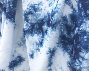 Bamboo Shibori Fabric, Indigo Fabric, Shibori For Clothing and Curtains