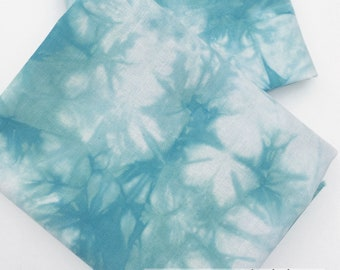 Tie Dye Fabric, Shibori Fabric, Hand Dyed Shibori Fat Quarter, Aqua Fabric