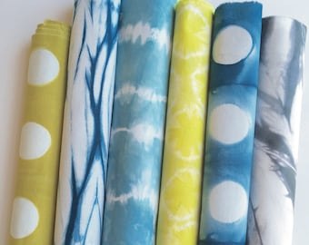 Shibori Fabric Bundle, Color Hand Dyed Shibori Fabrics