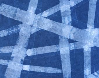 Indigo Shibori Fabric, Cotton Tie dye Fat Quarter, Geometric Fabric