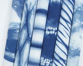 Shibori Fabric Bundle, Hand Dyed Indigo Shibori, Indigo Fabric Collection