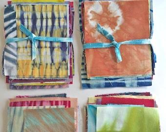 Shibori Fabric Scrap Pack Bundle, Tie Dye Fabric Sampler, Gift for Quilter
