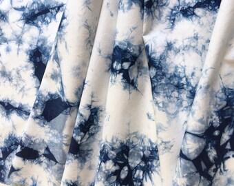 Indigo Dyed Shibori Fabric, Hand Dyed Fabric, Tie Dye Fabric