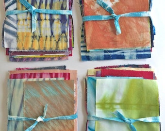 Shibori Fabric Sampler, Tie Dye Scrap Bundle, Hand Dyed Fabric, Gift for Quilter