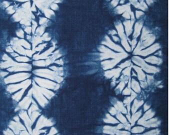 Indigo Dyed Shibori Fabric, Hand Dyed Fat Quarter, Blue and White Fabric