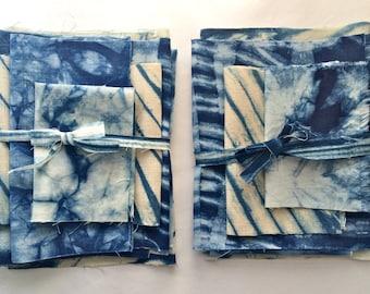 Linen Shibori Fabric Bundle, Indigo Dyed Shibori Sampler, Tie Dye Fabric, Gift for Sewer, Gift for Creatives