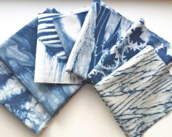 Indigo Shibori Fabric Scraps, Tie Dye Fabric Sampler, Gift For Sewer