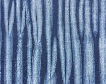 Shibori Indigo Fabric, Indigo Dyed Fat Quarter, Hand Dyed Fabric, Blue Stripe Fabric
