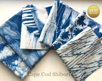 Indigo Shibori Fabric Bundle/ Indigo Dyed Fabric Sampler/ Gift For Quilter/ Gift for Sewer