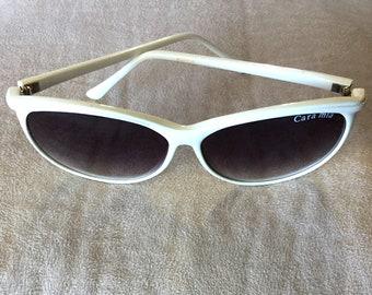 cc2a8427e3 Vintage Cara Mia Sunglasses - White with Dark Gradient Lenses.
