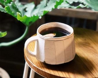 Large Faceted Ceramic Mug, Handbuilt Pottery, Coffee or Tea Mug, 18oz - MADE TO ORDER
