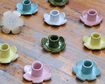 Daisy Candle Holder, Handmade Ceramic Flower Candle Holder