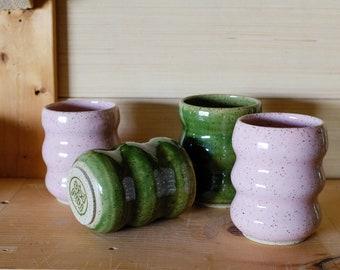 Curvy Ceramic Tumbler, Colorful Handmade Wheelthrown Retro Design Pottery Cup, Small, Green , 8 oz
