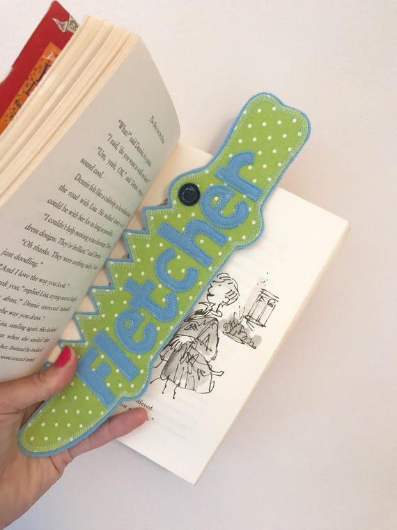 Crocodile bookmark, personalised - boys gift ideas
