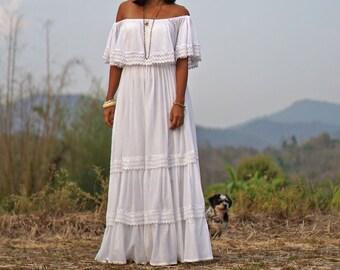 adea30621b3c Boho Wedding Dress, Summer Boho Dress, Off Shoulder Dress, Ruffle Dress, Maxi  White Dress, Summer Dress, Festival Dress, Oversize