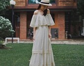 Ruffle Dress, Maxi White Dress, Summer Dress, Festival Dress, Boho Wedding Dress, Summer Boho Dress, Off Shoulder Dress, Summer White Dress