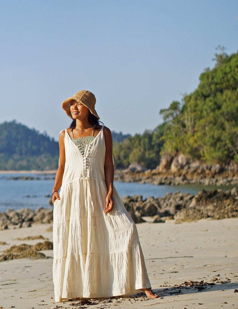 Summer Boho V Neck Jumpsuit Dress Bohemian Elegant Sleeveless Cotton Wide Leg Jumpsuit for Women Loose Fit Stripe Woven Cotton Jumpsuit