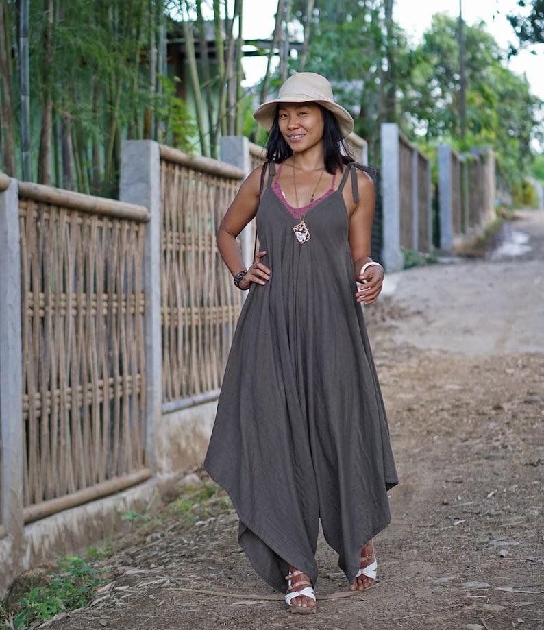 Double Gauze Cotton Sleeveless Jumpsuit for Festival V Front Back Asymmetric Jumpsuit for Summer Brown Oversize Harem Jumpsuit for Women