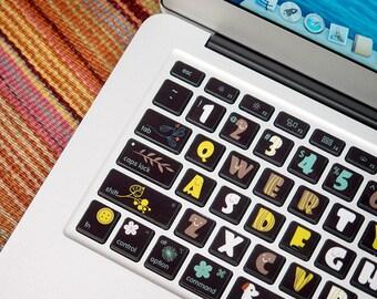 macbook keyboard stickers macbook air decal colorful wood etsy