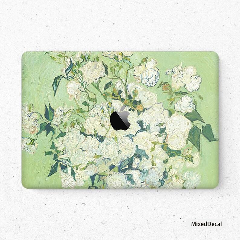 Laptop Skin MacBook Pro Sticker Apple Mac Air Decal Retina Touch Bar Cover MacBook Pro 16 Skin MacBook Pro 15 MacBook Air 13 White rose