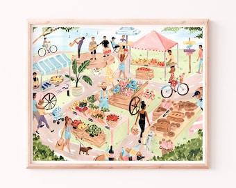Farmer's Market Art Print - Kitchen Wall Art - Dining Room Art  - Food Market Illustration - Watercolor Gouache Painting Wall Decor