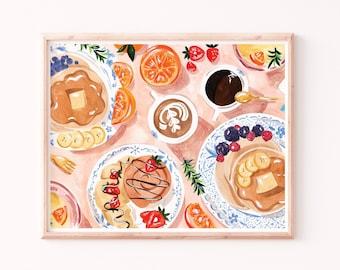 Brunch Art Print, Pancakes Pastries and Coffee Painting, Kitchen Wall Art, Breakfast Illustration, Kitchen Decor, Sunday Brunch, Fruit