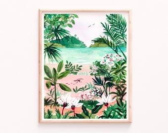 Beach Art Print, Tropical Ocean Botanical Illustration, Lush Watercolor Painting, Bird and Trees Landscape, Seaside Wall Art, Bathroom Art