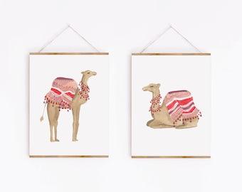 Cairo Art Print  Egypt Art  Desert Painting  Travel Art Print  Women and Animals  Watercolor Camels  Neutral Wall Art  Sabina Fenn