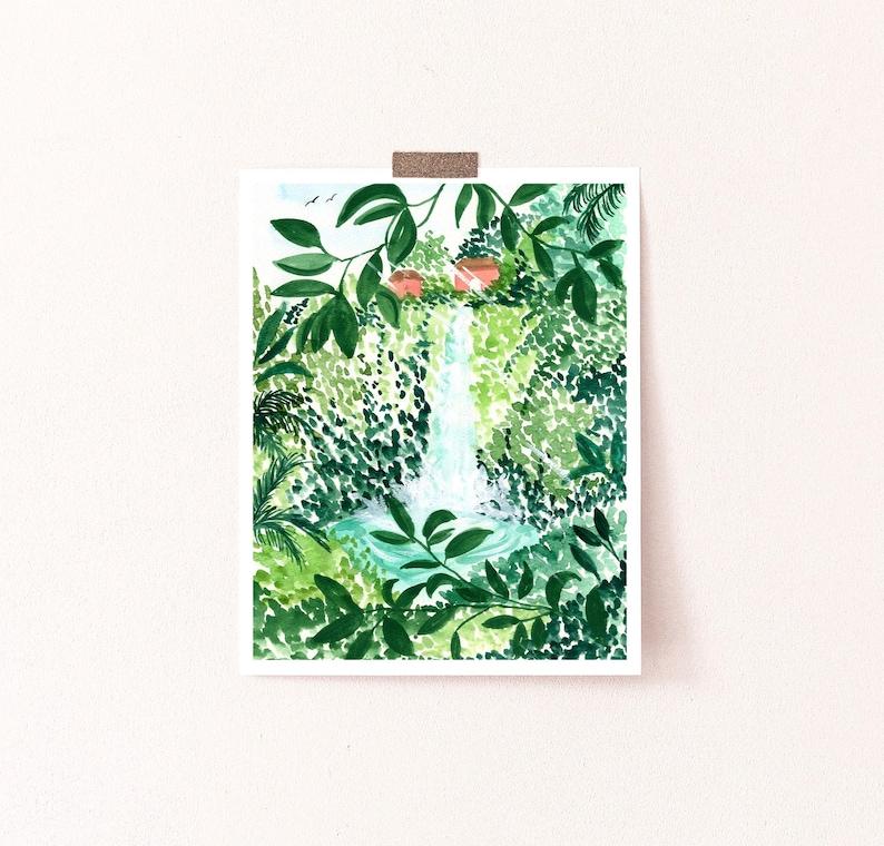 Peaceful Waterfall Art Print Lush Botanical Leaves and Trees image 1