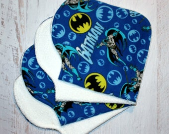 Burp Cloth Baby Shower Gift Set of Four Contoured Burp Cloths, Burp Rags, Gift for Baby and Dad Batman Flannel White Terry Cloth, Absorbent