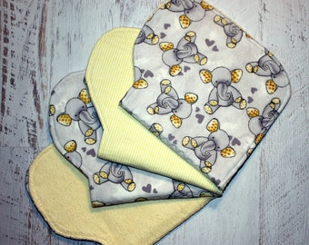Burp Cloth Baby Shower Gift Set of Four Contoured Burp Cloths, Burp Rags, Gift for Baby Elephants Flannel Yellow Terry Cloth, Absorbent