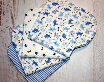 Burp Cloth Baby Shower Gift Set of Four Contoured Burp Cloths, Burp Rags, Gift for Baby Boy Puppies Blue Paw Prints Bones Flannel, Absorbent