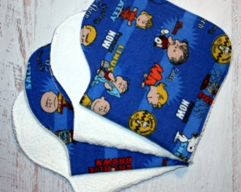 Burp Cloth Baby Shower Gift Set of Four Contoured Burp Cloths, Burp Rags, Gift for Baby Charlie Brown Peanuts Flannel Terry Cloth, Absorbent